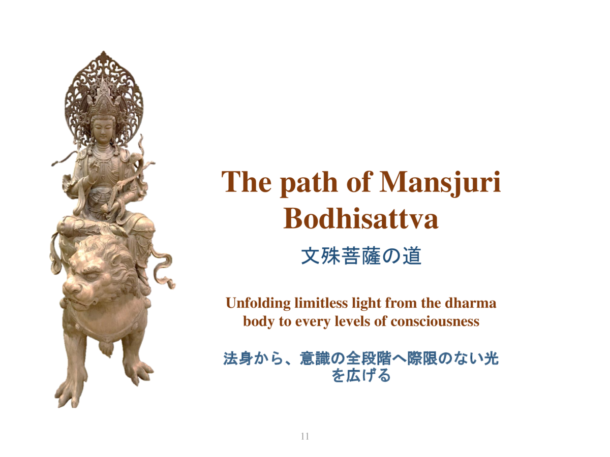 The path of Mansjuri Bodhisattva                    Unfolding limitless light from the dharma body to every levels of cons...