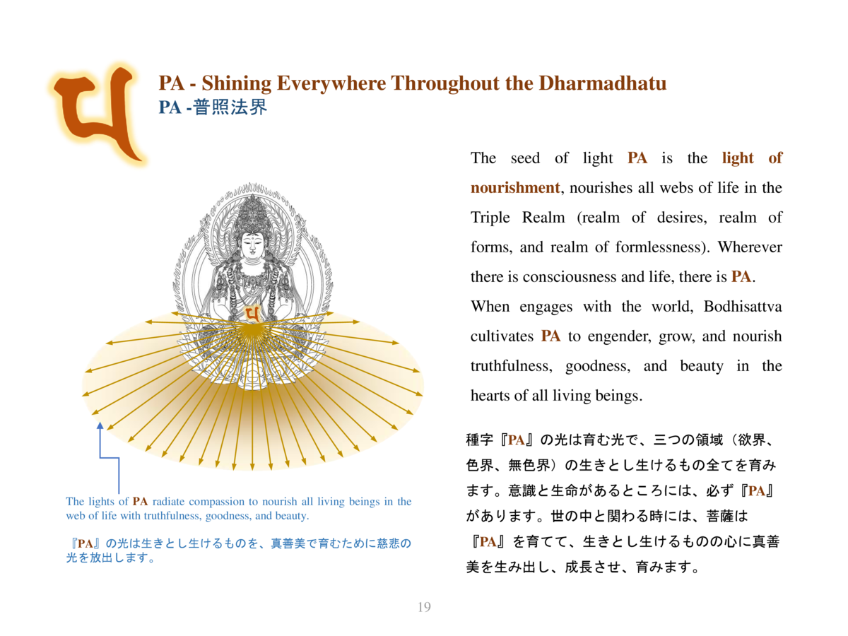 PA - Shining Everywhere Throughout the Dharmadhatu PA -             The seed of light PA is the light of nourishment, nour...
