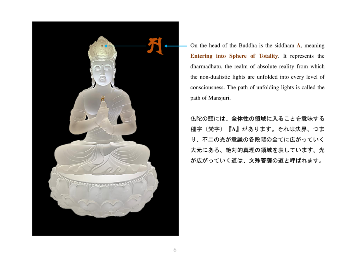 On the head of the Buddha is the siddham A, meaning Entering into Sphere of Totality. It represents the dharmadhatu, the r...
