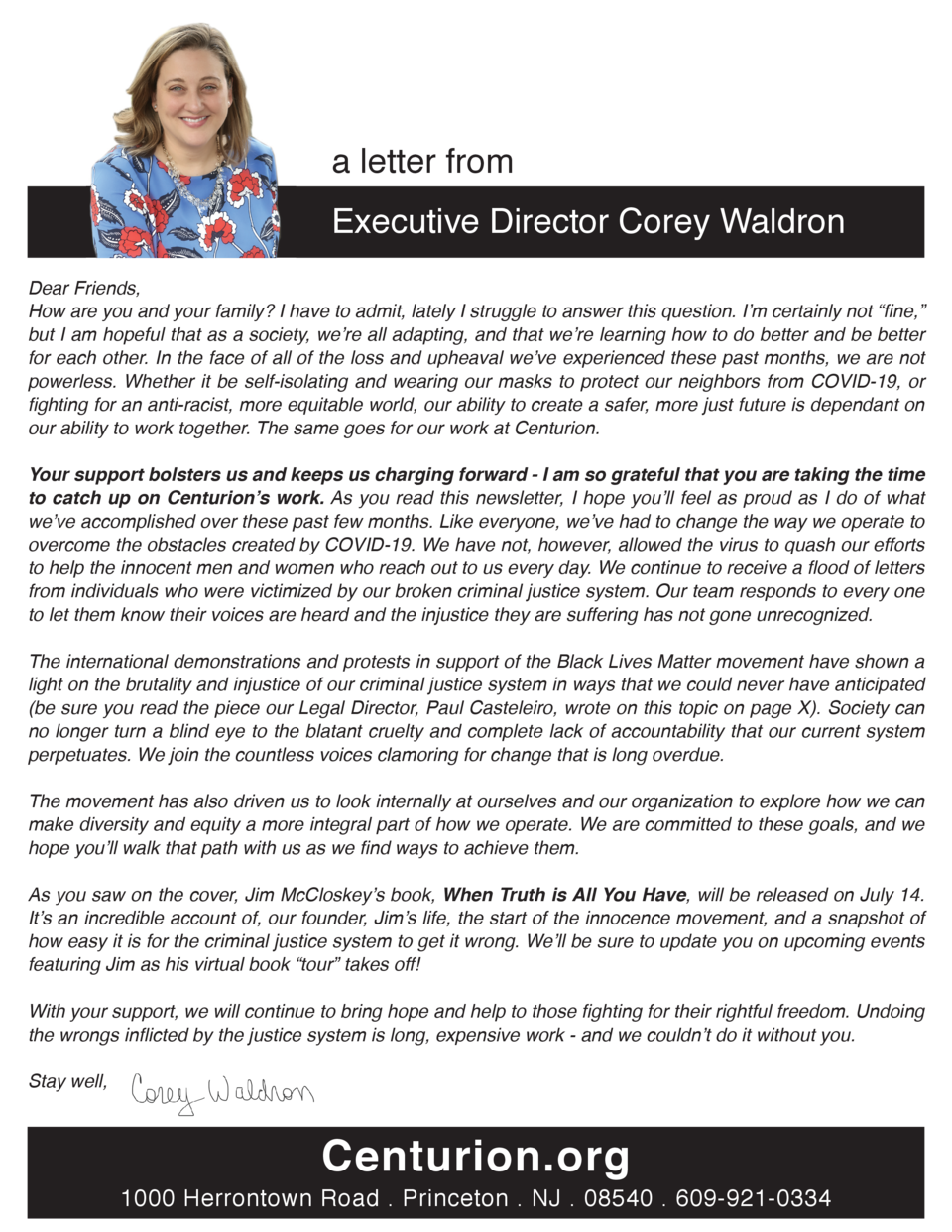 a letter from Executive Director Corey Waldron Dear Friends, How are you and your family  I have to admit, lately I strugg...