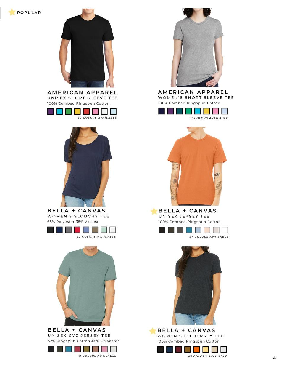 SHIRTS  POPULAR  AMERICAN APPAREL  AMERICAN APPAREL  UNISEX SHORT SLEEVE TEE  WOMEN   S SHORT SLEEVE TEE  100  Combed Rin ...
