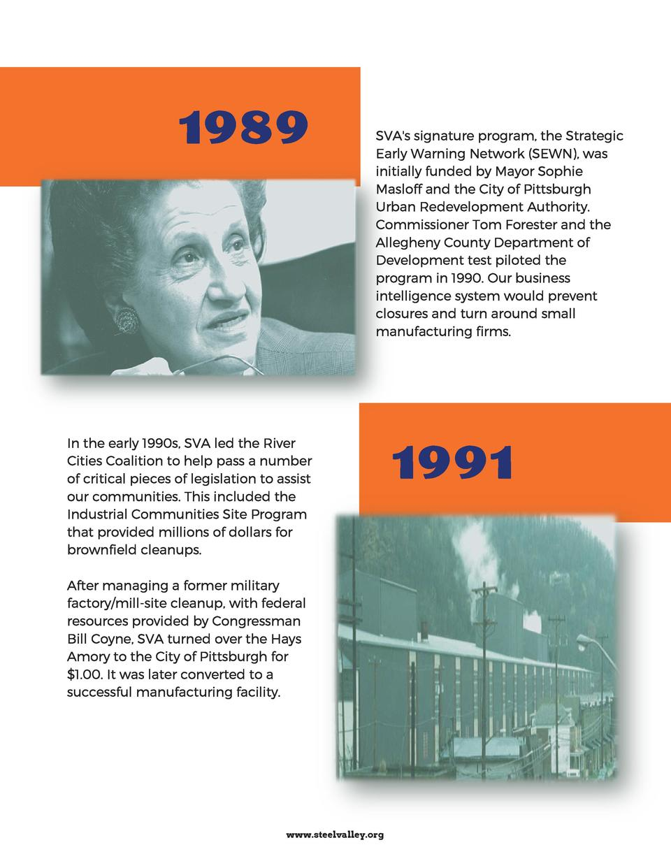 1989  SVA s signature program, the Strategic Early Warning Network  SEWN , was initially funded by Mayor Sophie Masloff an...
