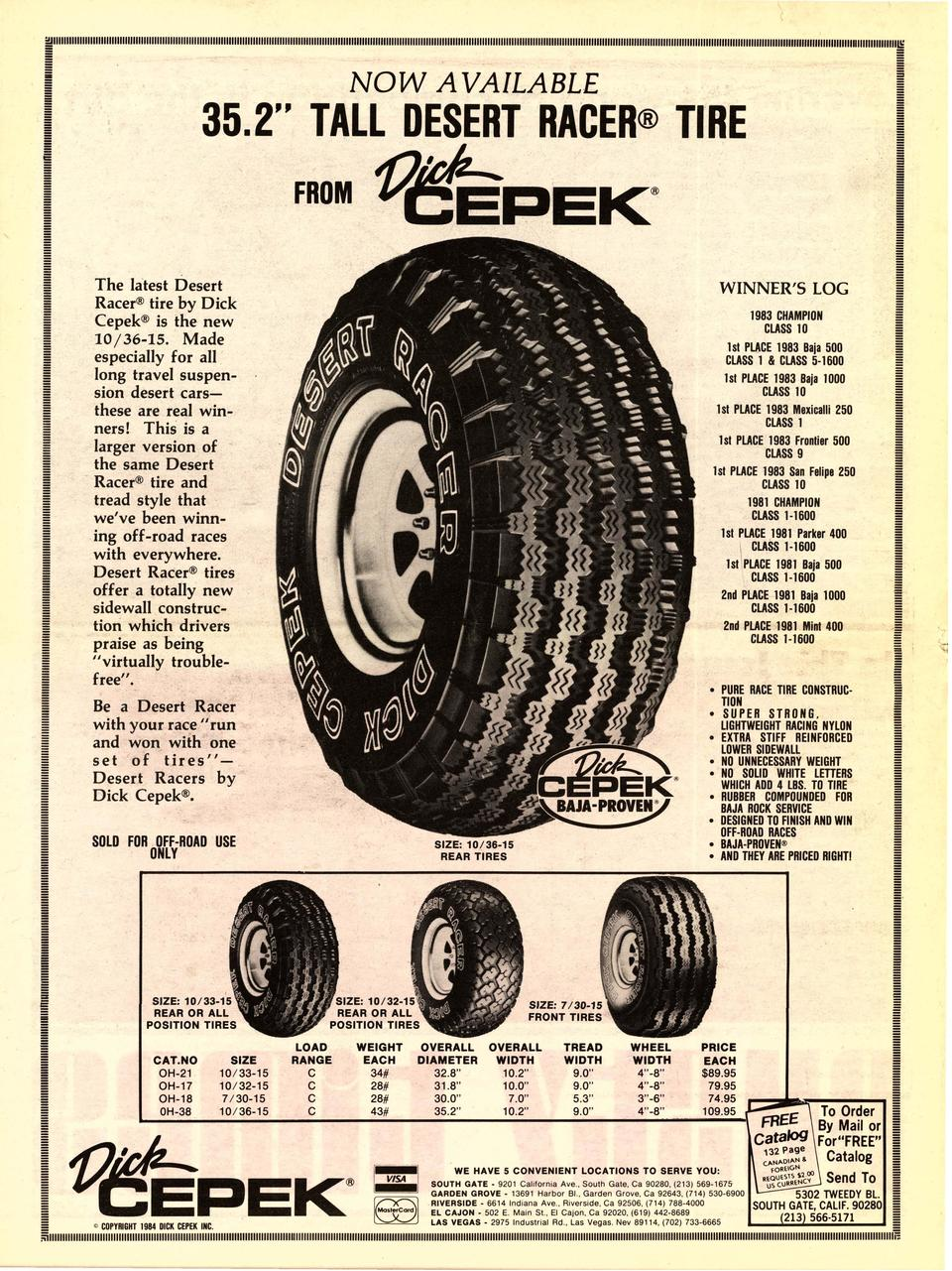 Be a Desert Racer with your race  run and won with one set of tires Desert Racers by Dick Cepek  .  To Order  By Mai...