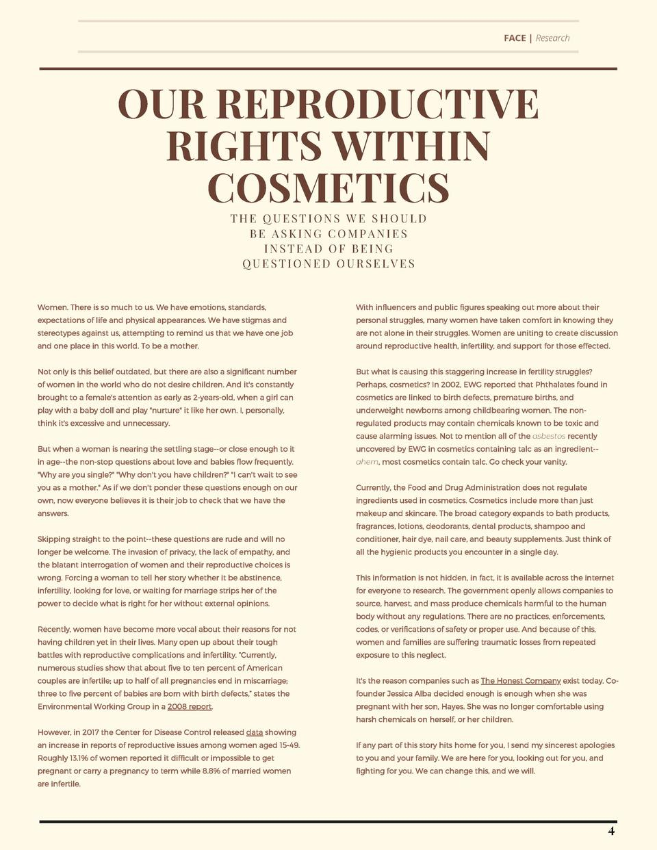 FACE   Research  OUR REPRODUCTIVE RIGHTS WITHIN COSMETICS THE QUESTIONS WE SHOULD BE ASKING COMPANIES INSTEAD OF BEING QUE...