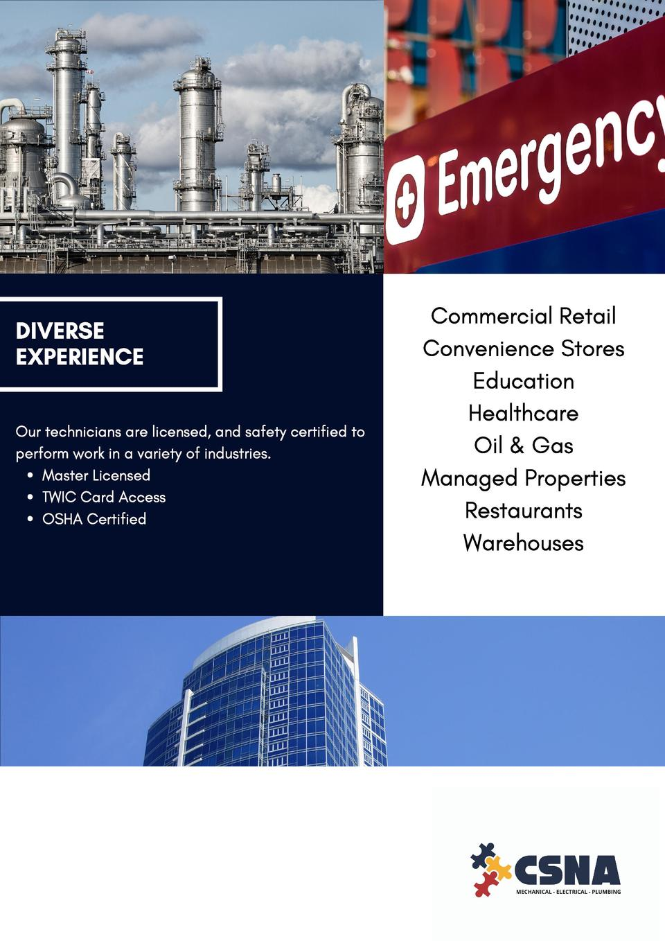 DIVERSE EXPERIENCE  Commercial Retail Convenience Stores Education Healthcare  Our technicians are licensed, and safety ce...