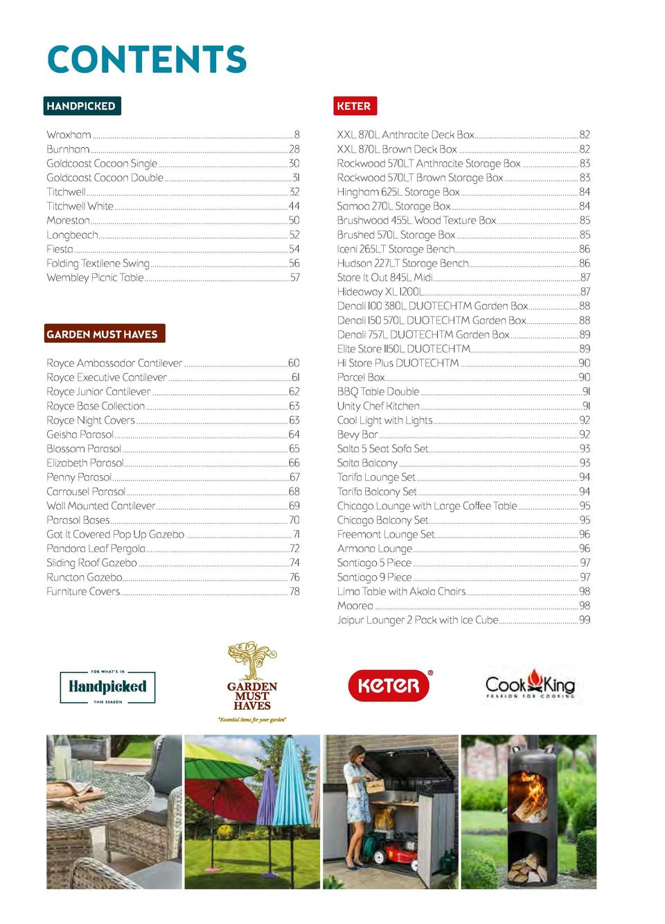 CONTENTS HANDPICKED  KETER  COOK KING  E-COMMERCE  Wroxham...................................................................