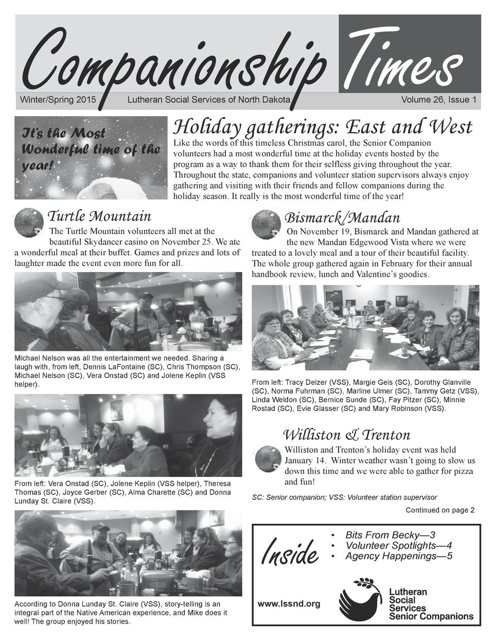 Companionship Times  Winter Spring 2015   Lutheran Social Services of North Dakota   It   s the Most Wonderful time of the...