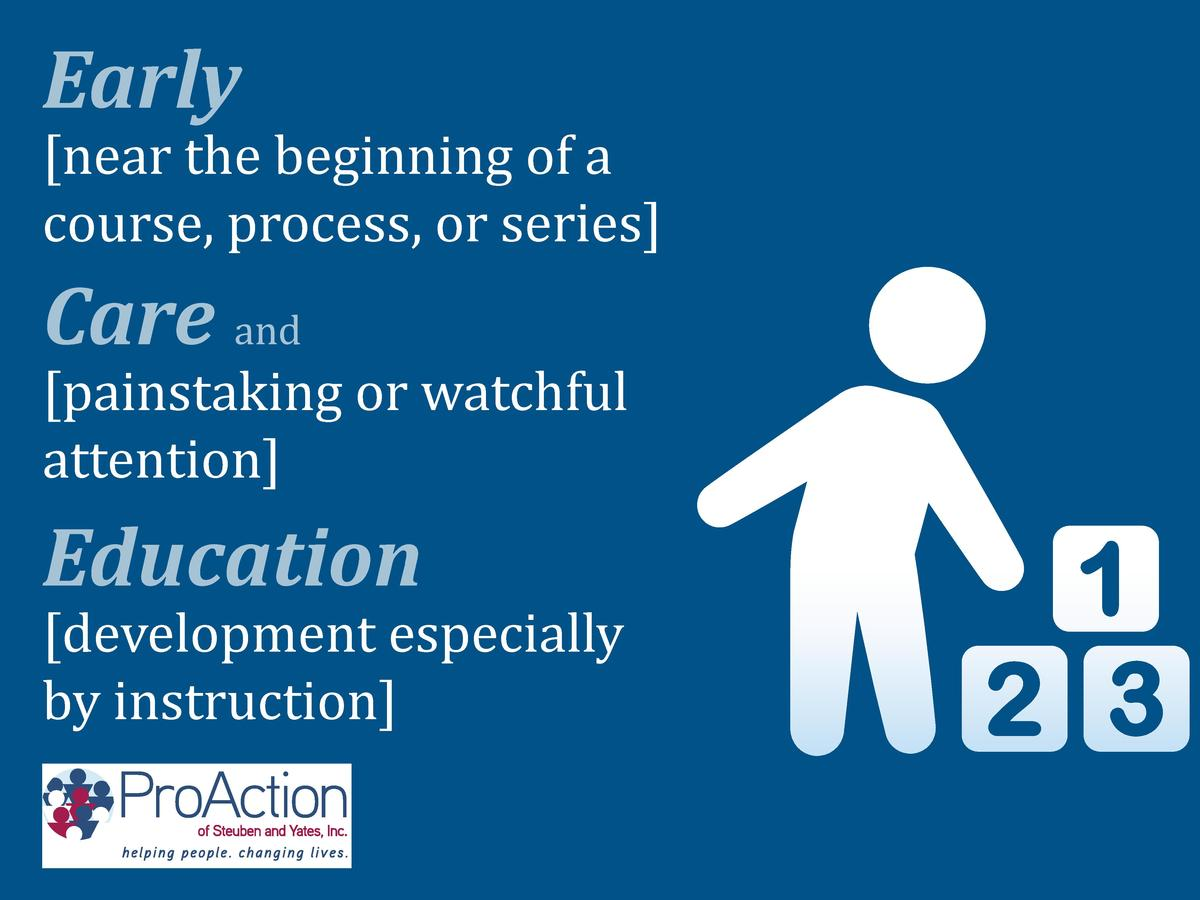 near the beginning of a course, process, or series   Early  Care and   painstaking or watchful attention   development es...