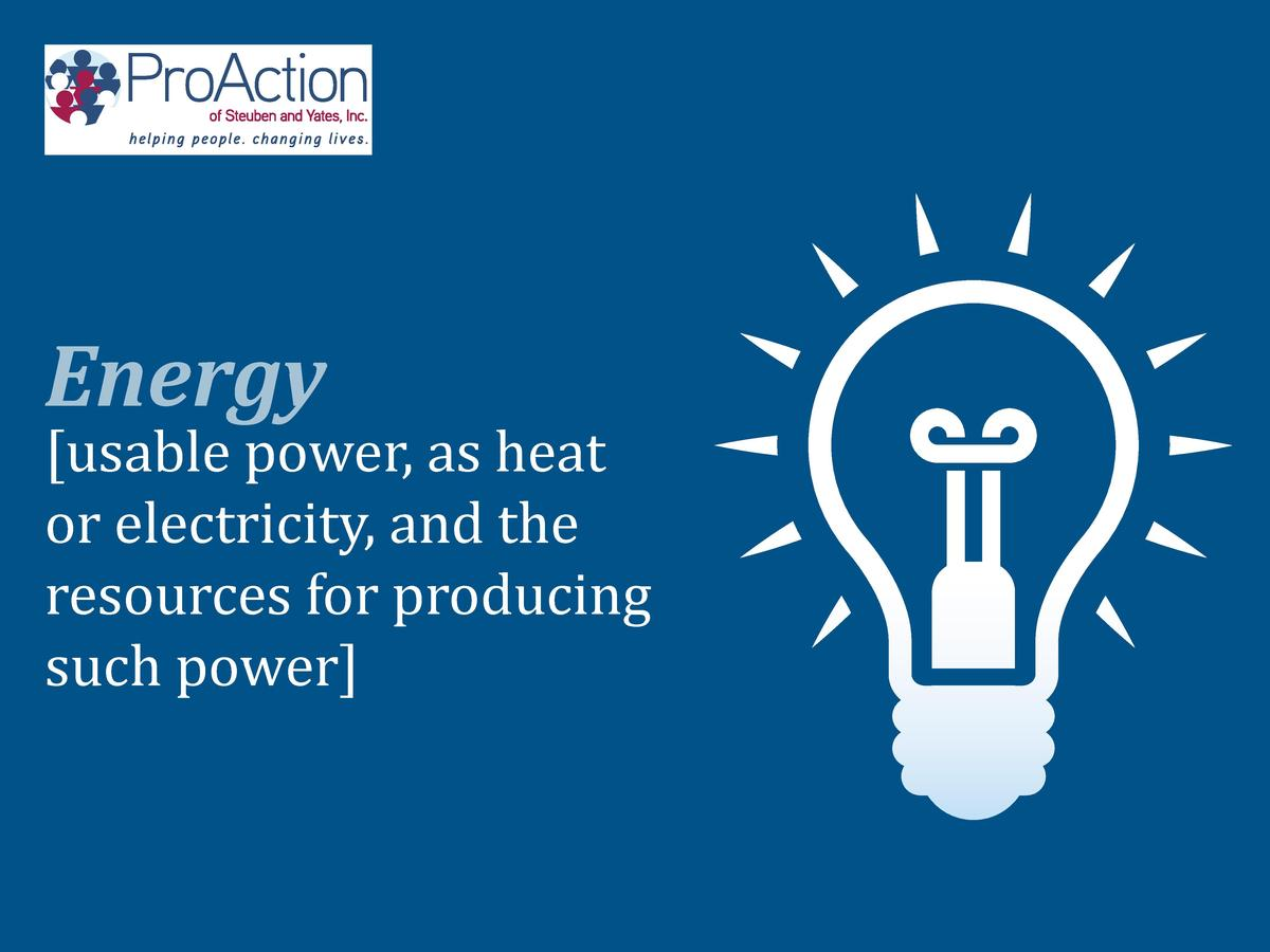 usable power, as heat or electricity, and the resources for producing such power   Energy