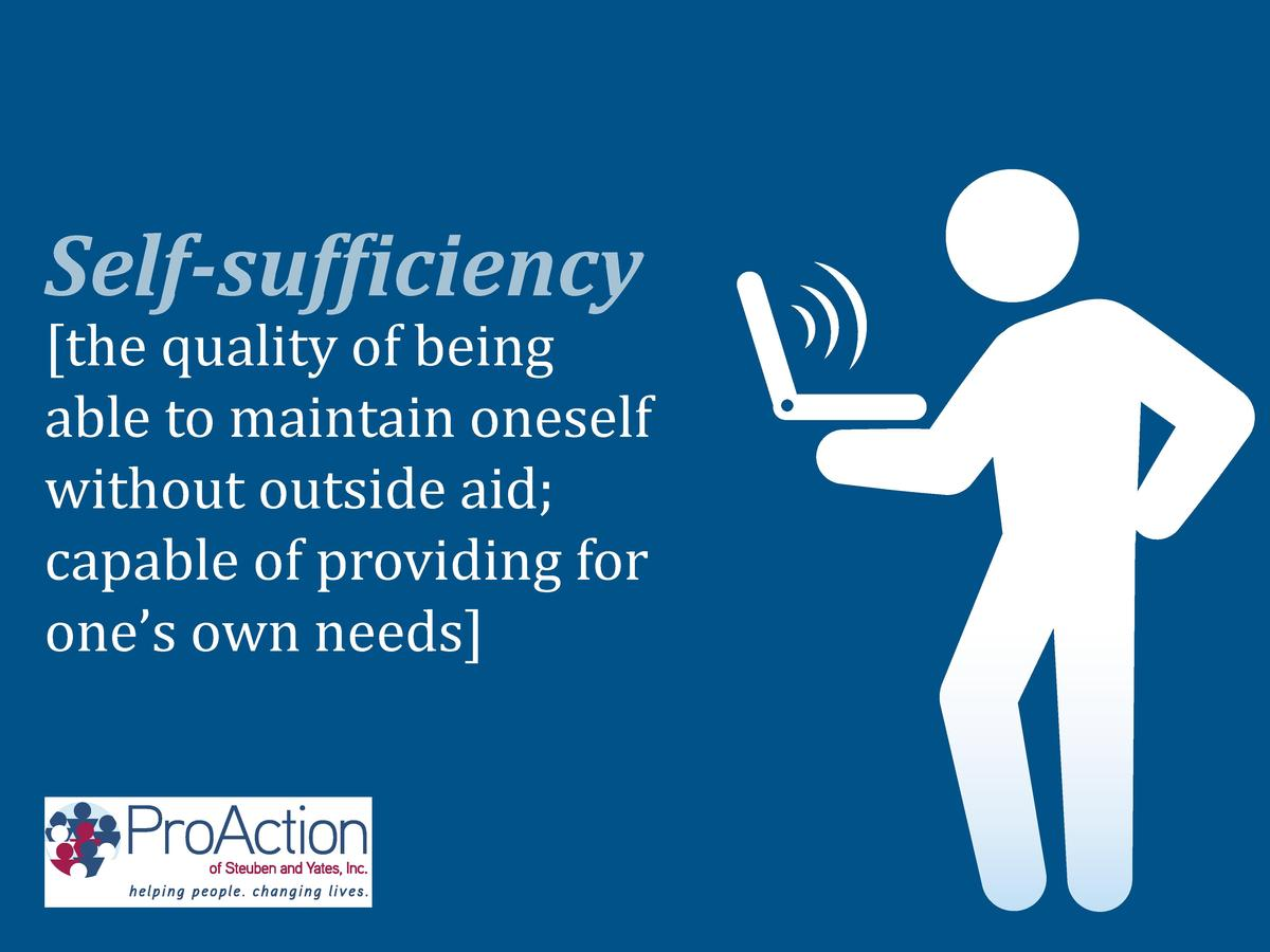 the quality of being able to maintain oneself without outside aid  capable of providing for one   s own needs   Self-suff...