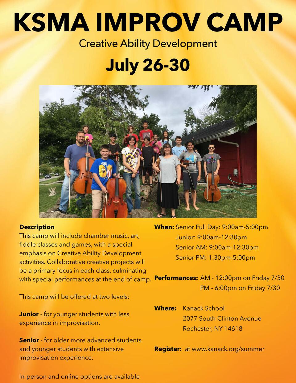 KSMA IMPROV CAMP Creative Ability Development  July 26-30  Description When  Senior Full Day  9 00am-5 00pm This camp will...