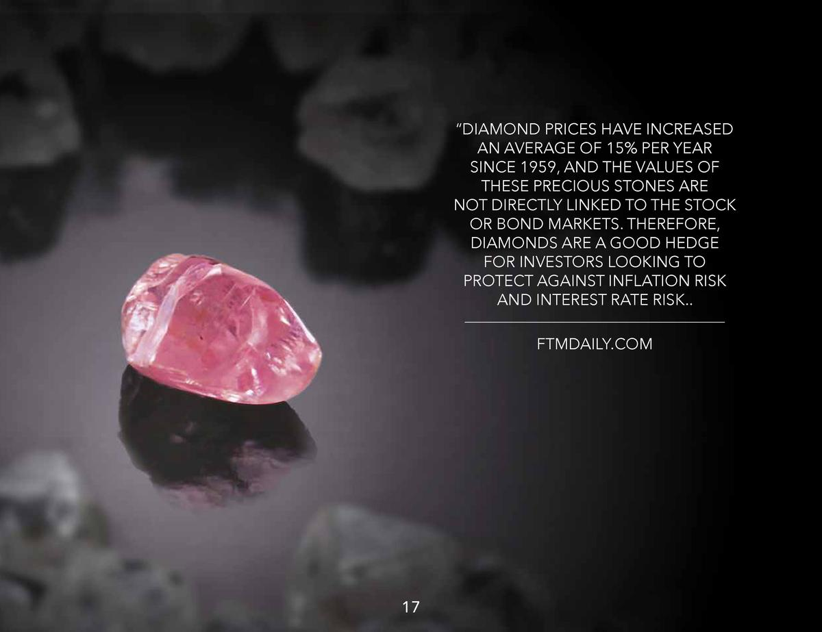 DIAMOND PRICES HAVE INCREASED AN AVERAGE OF 15  PER YEAR SINCE 1959, AND THE VALUES OF THESE PRECIOUS STONES ARE NOT DI...