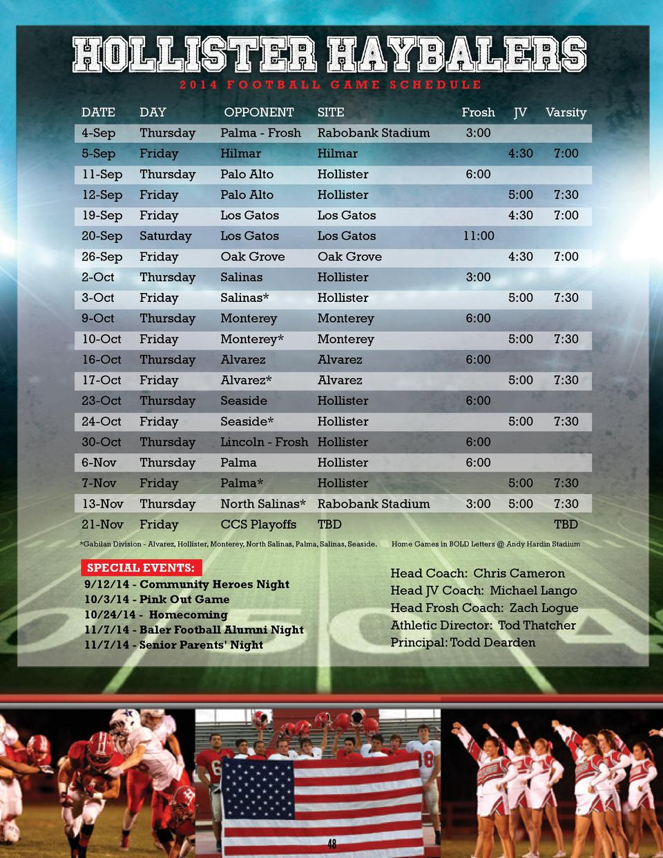 2014 FOOTBALL GAME SCHEDULE  DATE  DAY  OPPONENT  SITE  JV  Varsity  4-Sep  Thursday  Palma - Frosh  Rabobank Stadium  5-S...