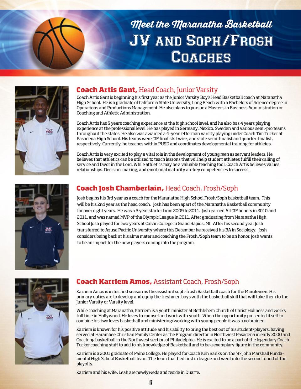 Meet the Maranatha Basketball  JV and Soph Frosh Coaches Coach Artis Gant, Head Coach, Junior Varsity Coach Artis Gant is ...