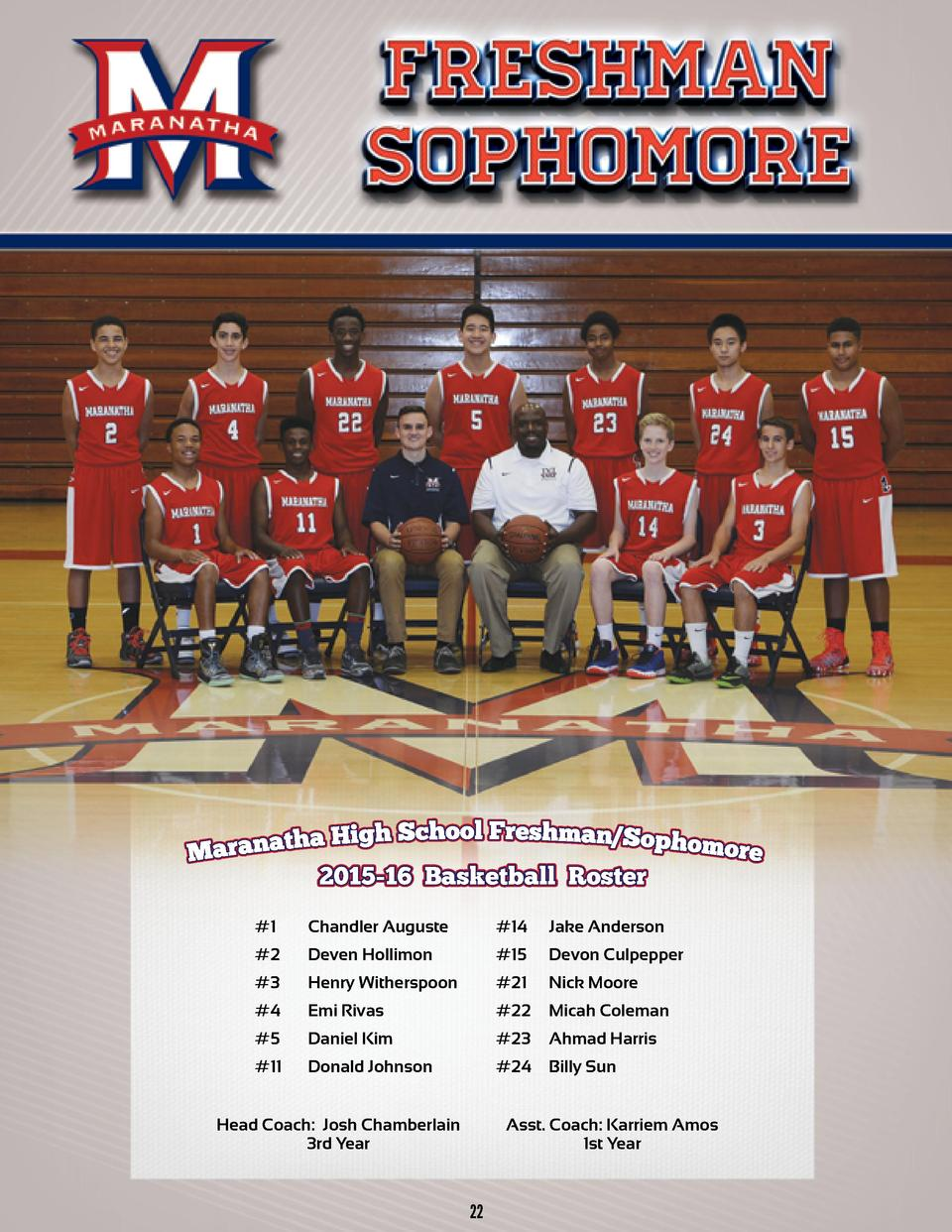 2015-16 Basketball Roster 2015-16   1 Chandler Auguste Mason Swinnie  2 Deven Hollimon   14  15  15  Jake Anderson Tevan K...