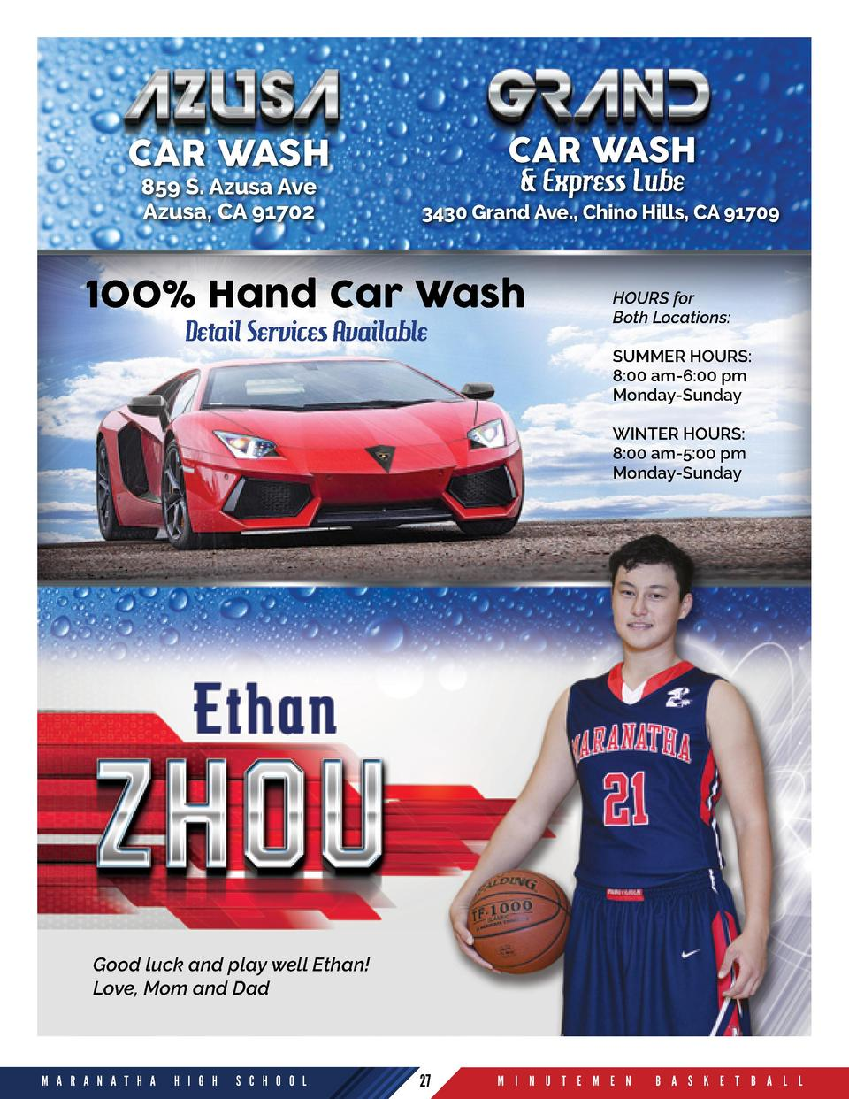 CAR WASH  CAR WASH 859 S. Azusa Ave Azusa, CA 91702    Express Lube  3430 Grand Ave., Chino Hills, CA 91709  100  Hand Car...