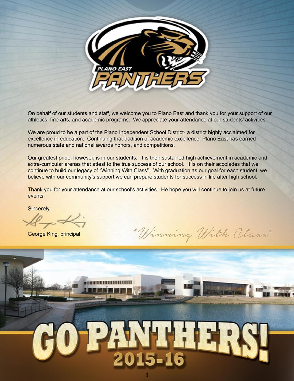 On behalf of our students and staff, we welcome you to Plano East and thank you for your support of our athletics, fine ar...