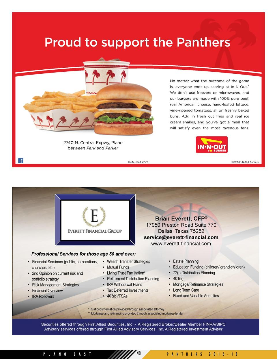 Proud to support the Panthers No matter what the outcome of the game is, everyone ends up scoring at In-N-Out.   We don   ...