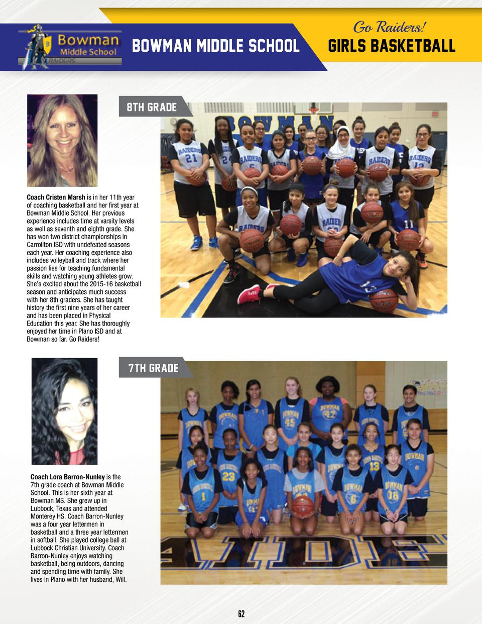 Go Raiders   BOWMAN MIDDLE SCHOOL  8TH GRADE  Coach Cristen Marsh is in her 11th year of coaching basketball and her first...