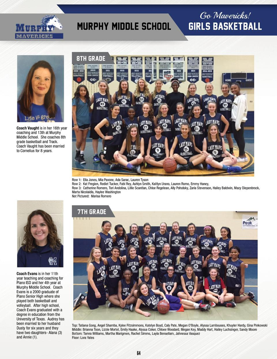 Go Mavericks   MURPHY MIDDLE SCHOOL  GIRLS BASKETBALL  8TH GRADE  Coach Vaught is in her 16th year coaching and 13th at Mu...