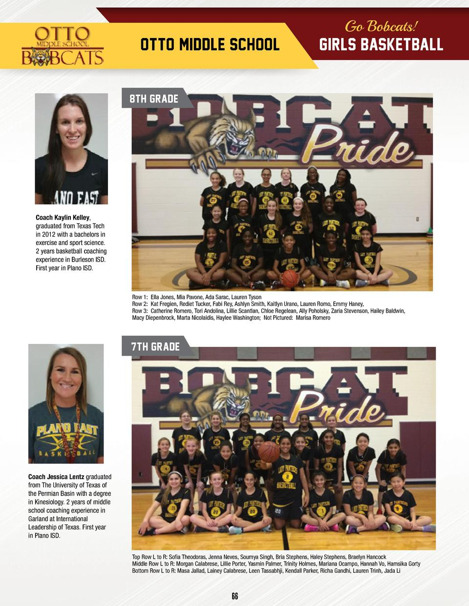 Go Bobcats   OTTO MIDDLE SCHOOL  GIRLS BASKETBALL  8TH GRADE  Coach Kaylin Kelley, graduated from Texas Tech in 2012 with ...