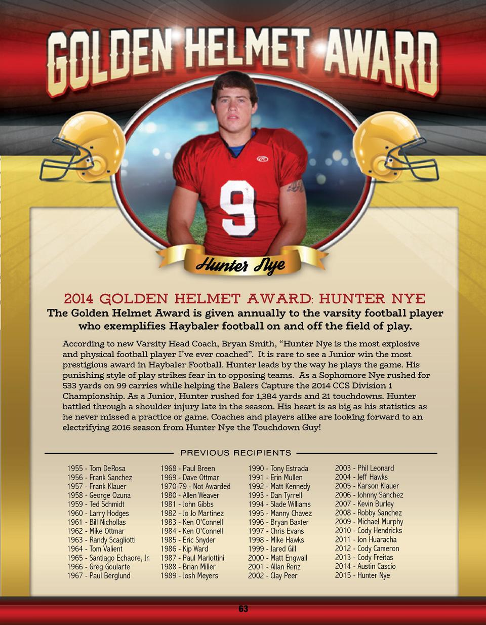 2014 Golden Helmet Award  HUNTER NYE  The Golden Helmet Award is given annually to the varsity football player who exempli...