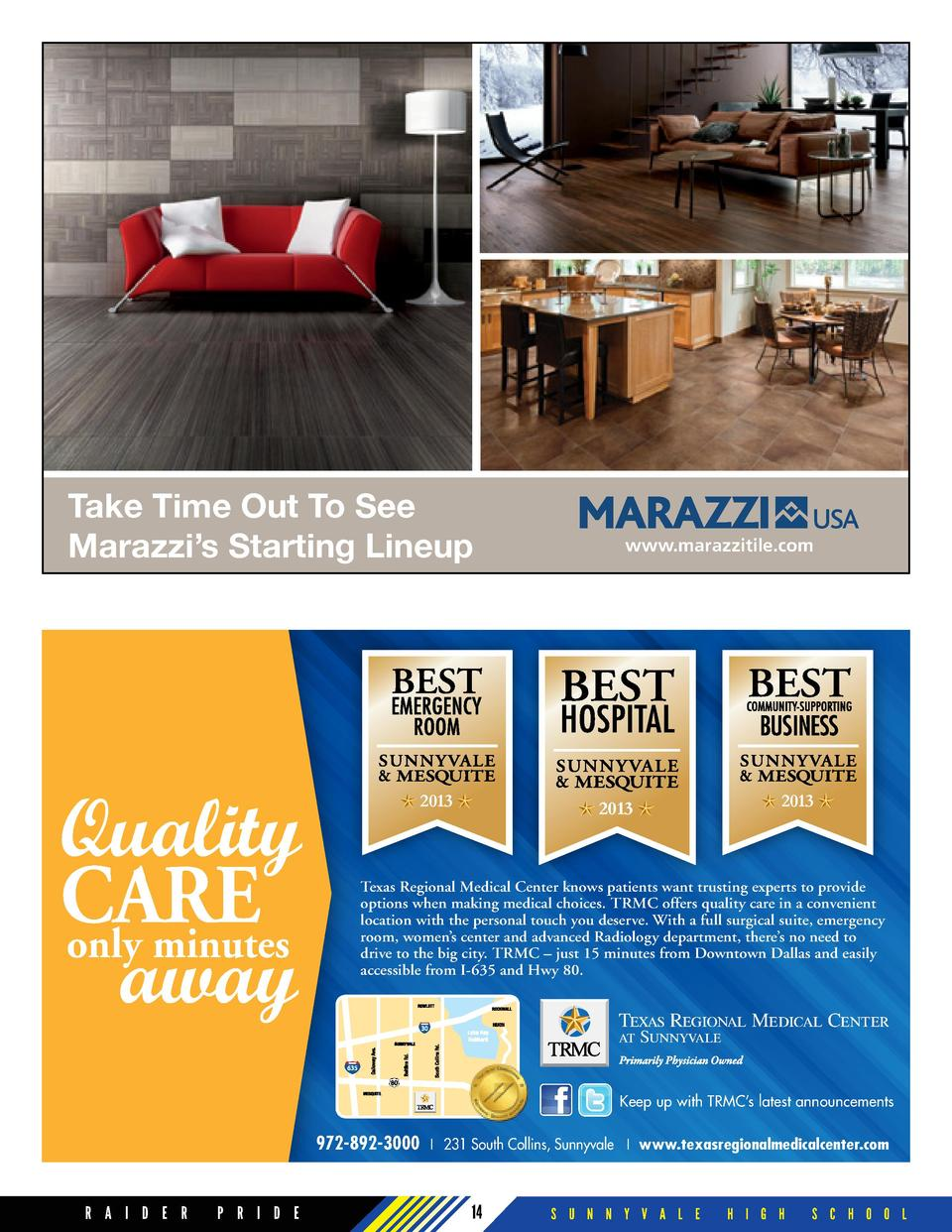 Take Time Out To See Marazzi   s Starting Lineup  Quality CARE only minutes away  2013  www.marazzitile.com  2013  2013  T...