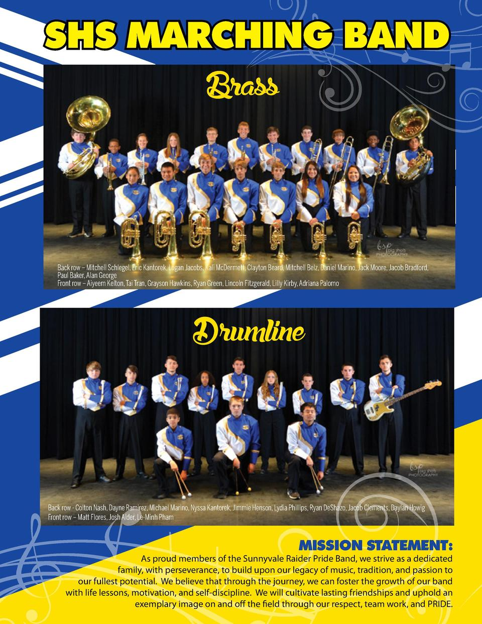 SHS MARCHING BAND  Brass  Back row     Mitchell Schlegel, Eric Kantorek, Logan Jacobs, Kali McDermett, Clayton Beard, Mitc...