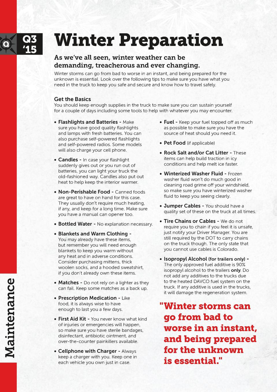 Q3    15  Winter Preparation As we   ve all seen, winter weather can be demanding, treacherous and ever changing. Winter s...