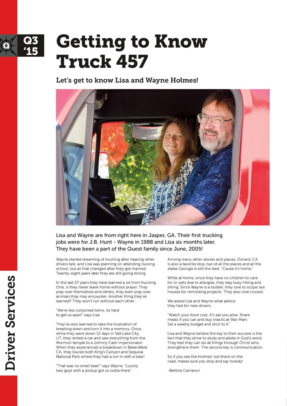 Q3    15  Getting to Know Truck 457 Let   s get to know Lisa and Wayne Holmes   Holiday  Home Time Home Blocks M  T  W  R ...