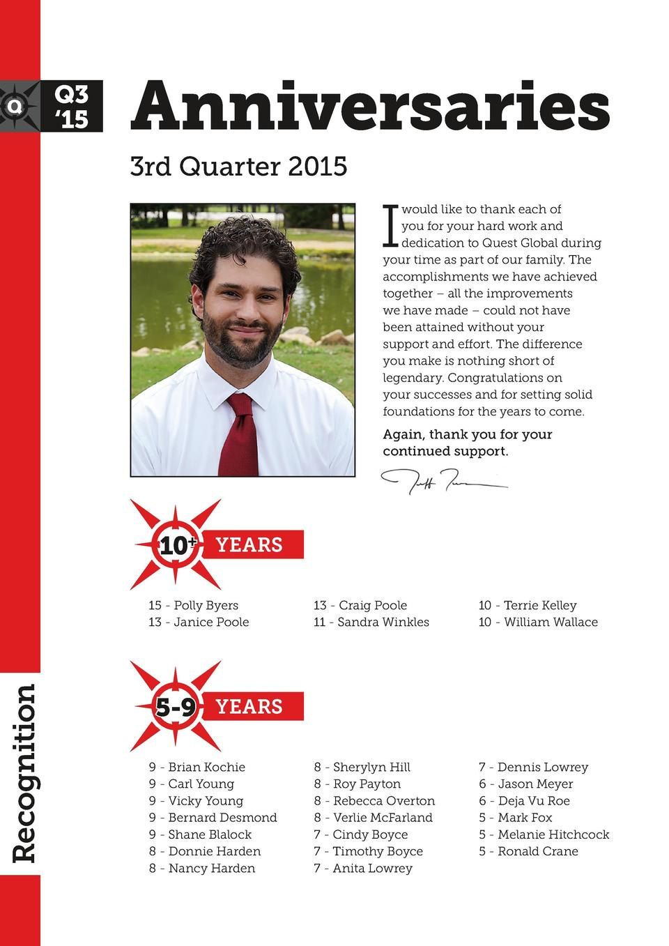 Anniversaries 3rd Quarter 2015  I  would like to thank each of you for your hard work and dedication to Quest Global durin...