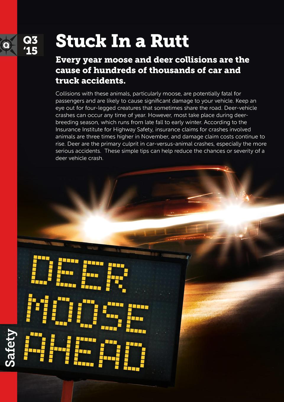 Q3    15  Stuck In a Rutt Every year moose and deer collisions are the cause of hundreds of thousands of car and truck acc...