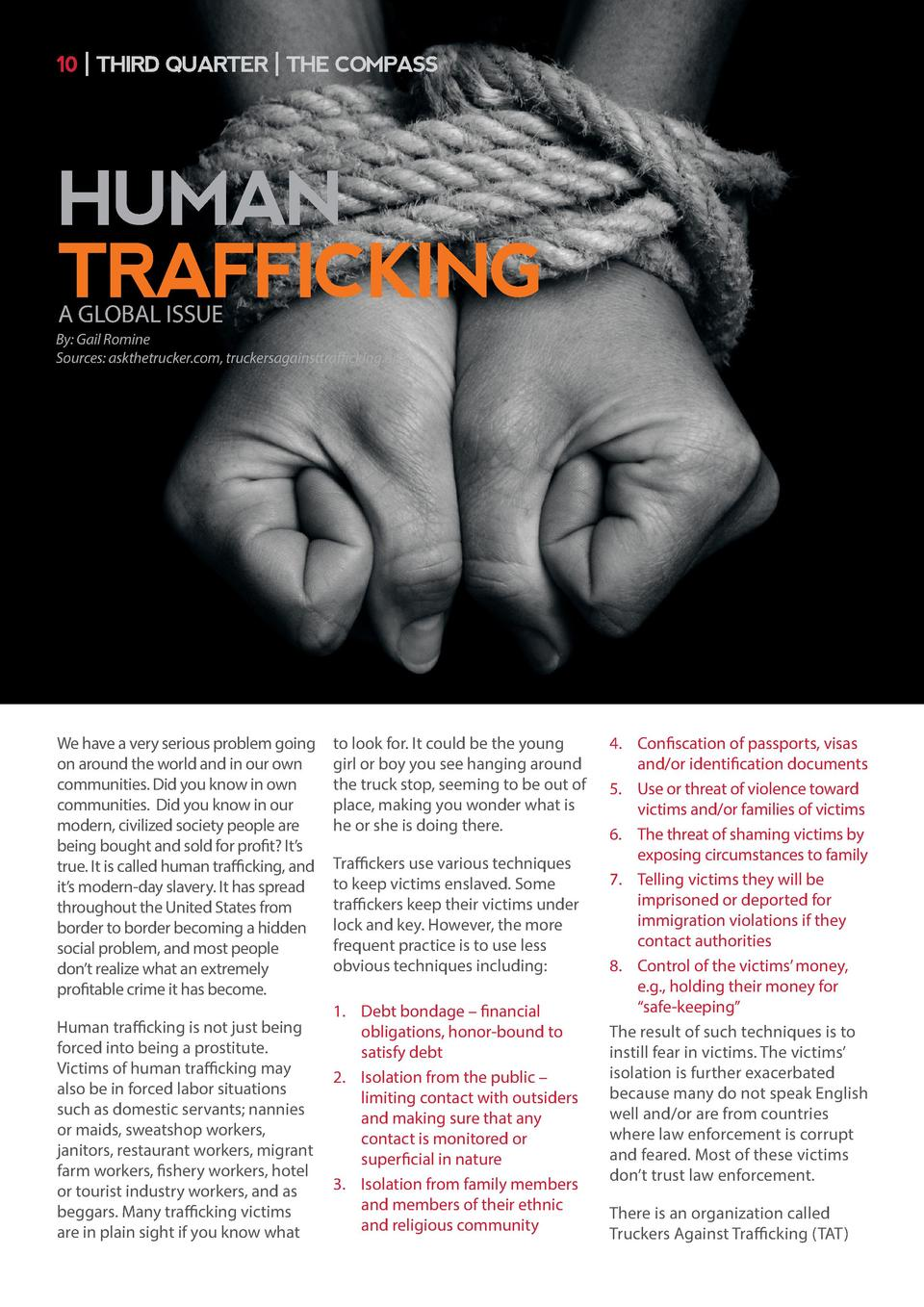 10   THIRD QUARTER   THE COMPASS  HUMAN TRAFFICKING A GLOBAL ISSUE  By  Gail Romine Sources  askthetrucker.com, truckersag...