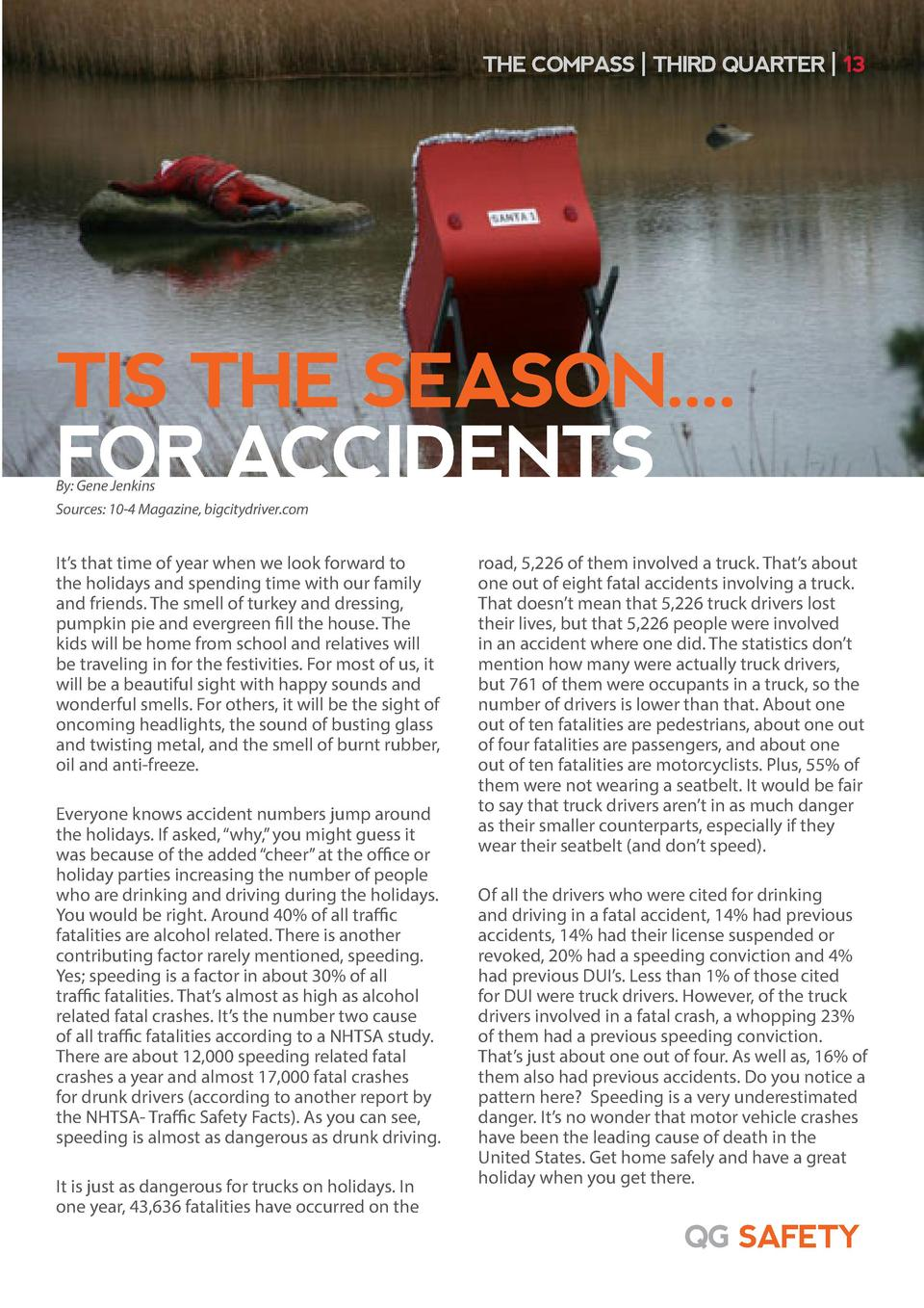 THE COMPASS   THIRD QUARTER   13  TIS THE SEASON.... FOR ACCIDENTS By  Gene Jenkins Sources  10-4 Magazine, bigcitydriver....