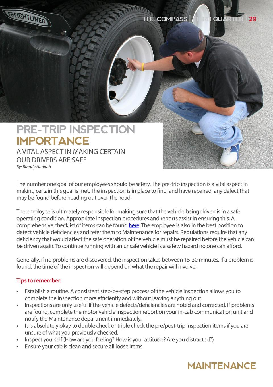 THE COMPASS   THIRD QUARTER   29  PRE-TRIP INSPECTION IMPORTANCE A VITAL ASPECT IN MAKING CERTAIN OUR DRIVERS ARE SAFE By ...