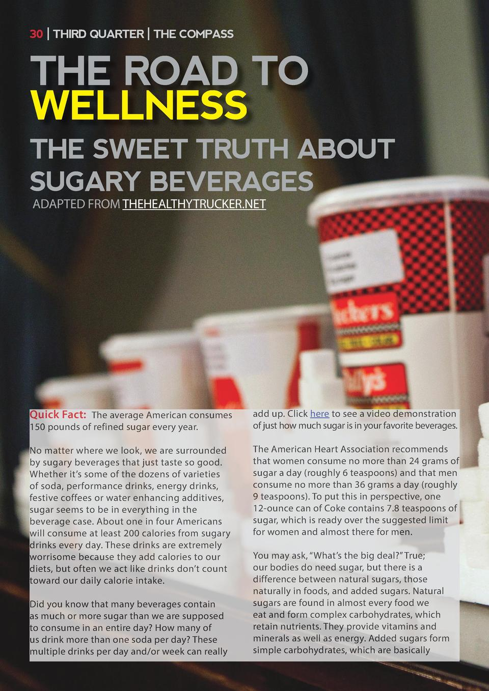 30   THIRD QUARTER   THE COMPASS  THE ROAD TO WELLNESS THE SWEET TRUTH ABOUT SUGARY BEVERAGES ADAPTED FROM THEHEALTHYTRUCK...