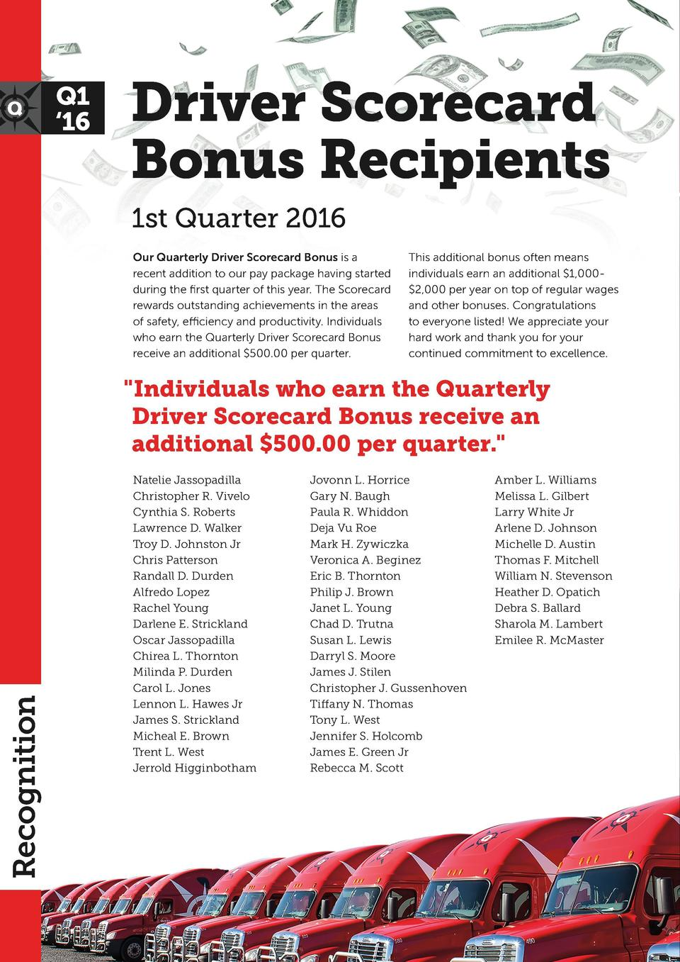 Q1    16  Driver Scorecard Bonus Recipients 1st Quarter 2016 Our Quarterly Driver Scorecard Bonus is a recent addition to ...