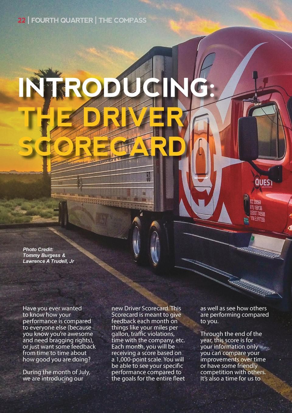 22   FOURTH QUARTER   THE COMPASS  INTRODUCING  THE DRIVER SCORECARD  Photo Credit  Tommy Burgess   Lawrence A Trudell, Jr...