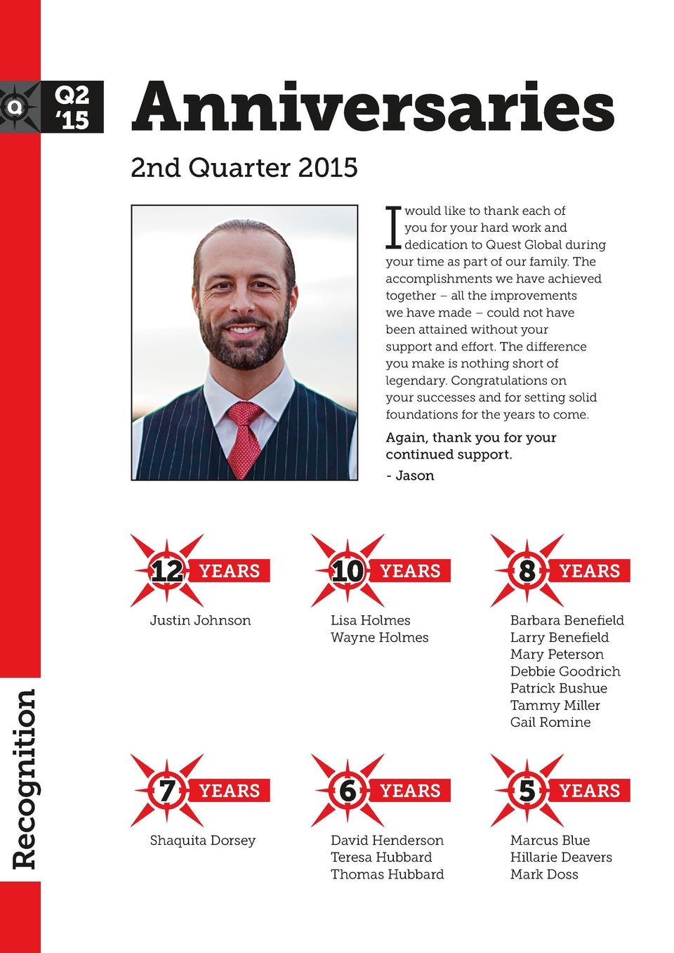 Anniversaries 2nd Quarter 2015  I  would like to thank each of you for your hard work and dedication to Quest Global durin...