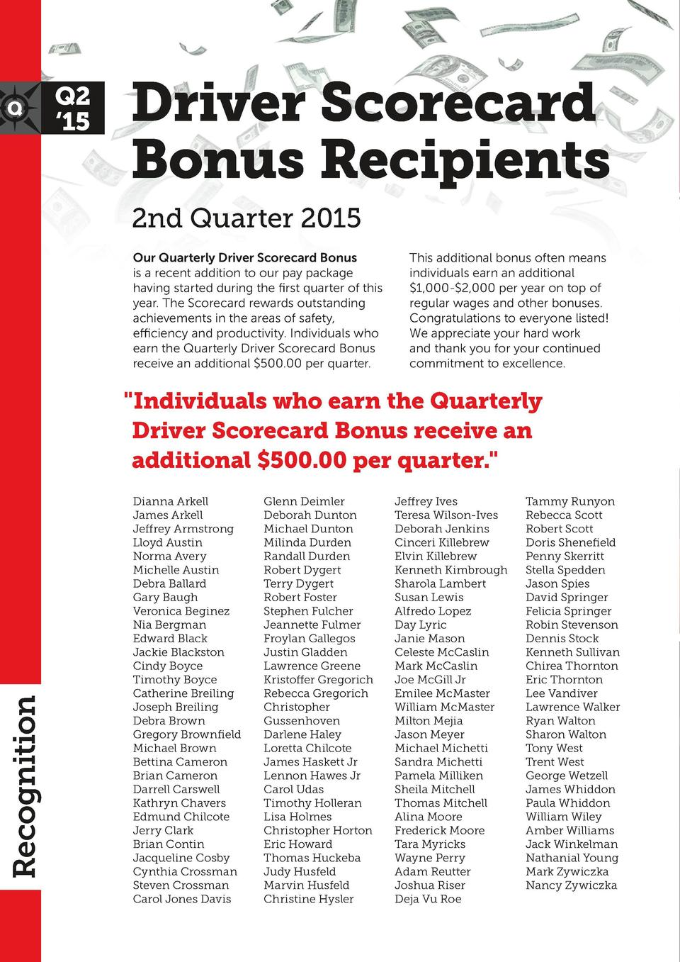 Q2    15  Driver Scorecard Bonus Recipients 2nd Quarter 2015 Our Quarterly Driver Scorecard Bonus is a recent addition to ...