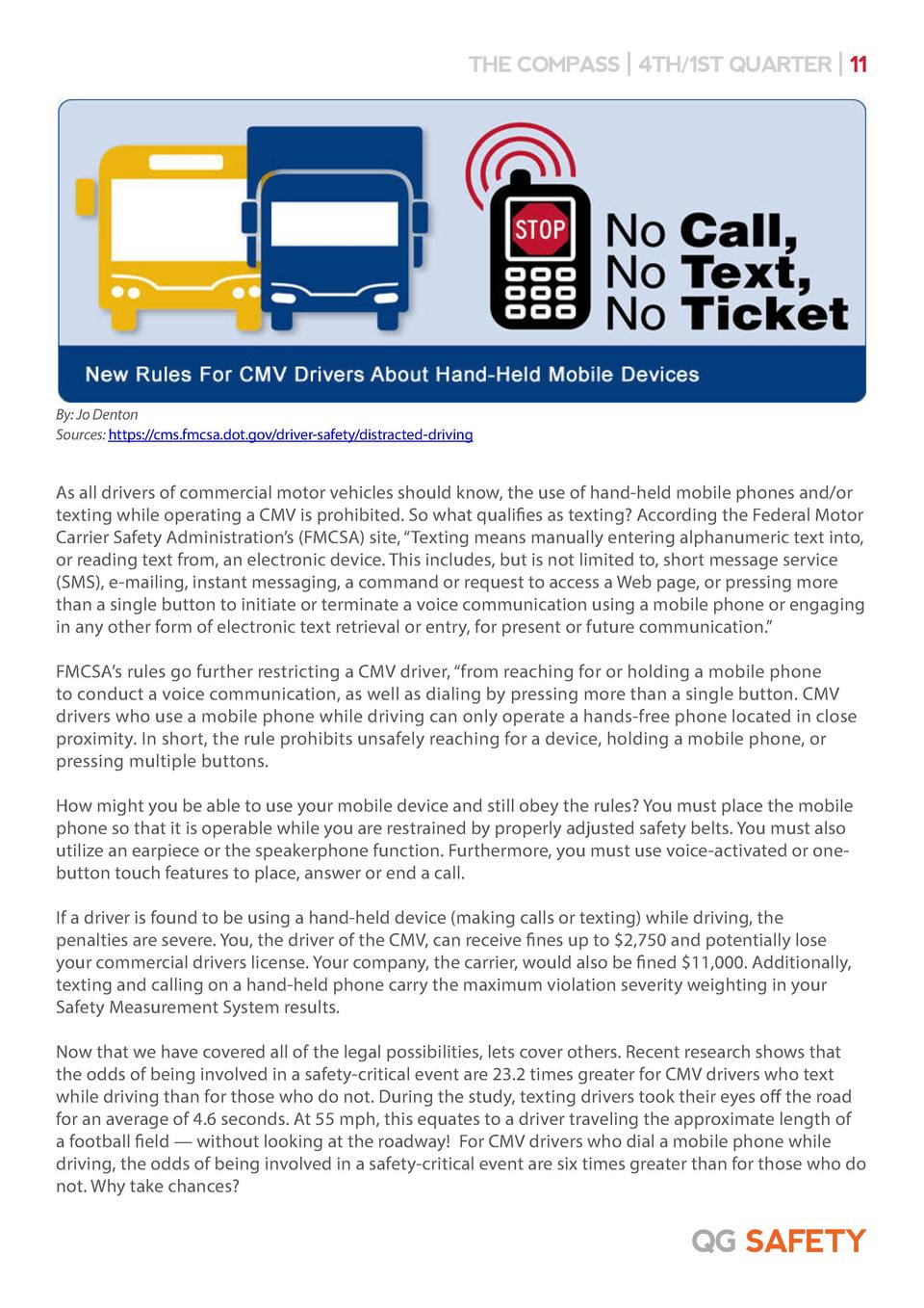 THE COMPASS   4TH 1ST QUARTER   11  By  Jo Denton Sources  https   cms.fmcsa.dot.gov driver-safety distracted-driving  As ...