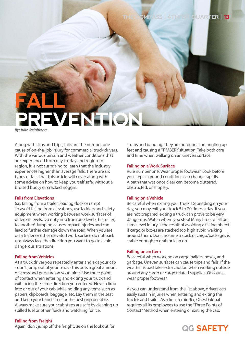 THE COMPASS   4TH 1ST QUARTER   13  FALL PREVENTION By  Julie Weinbloom  Along with slips and trips, falls are the number ...