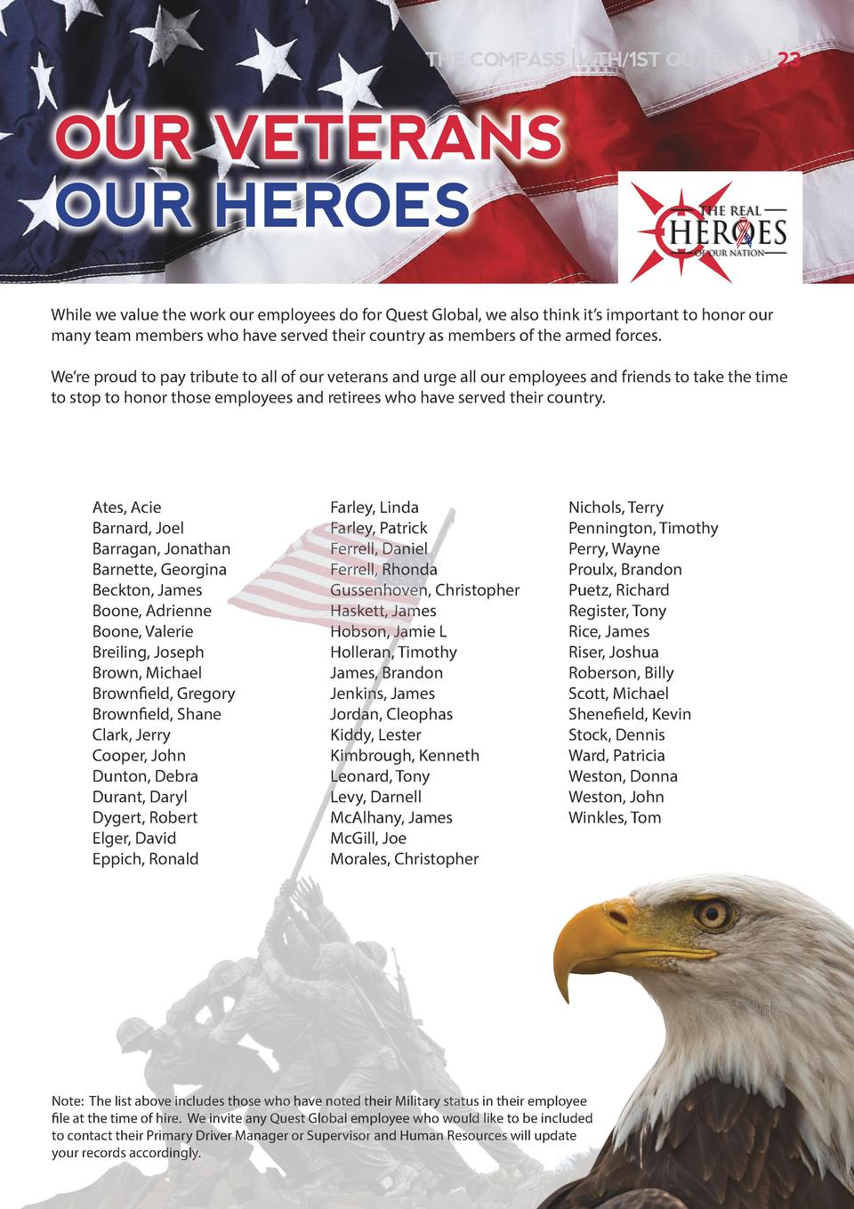 THE COMPASS   4TH 1ST QUARTER   23  OUR VETERANS OUR HEROES While we value the work our employees do for Quest Global, we ...