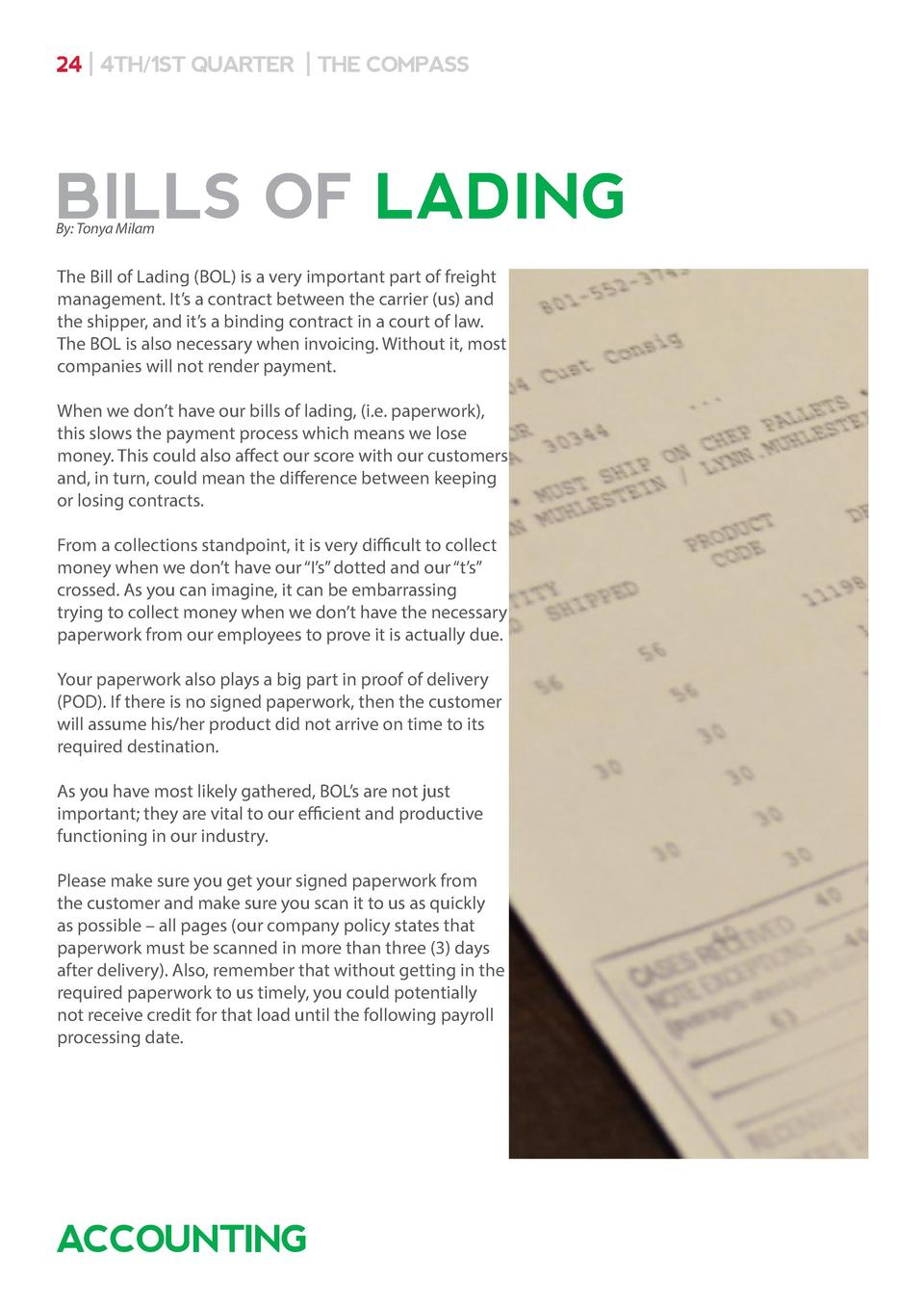 24   4TH 1ST QUARTER   THE COMPASS  BILLS OF LADING By  Tonya Milam  The Bill of Lading  BOL  is a very important part of ...