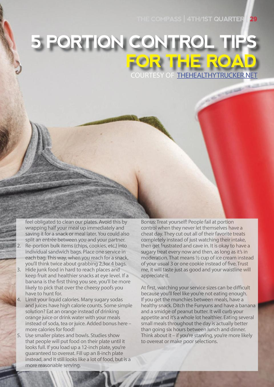 THE COMPASS   4TH 1ST QUARTER   29  5 PORTION CONTROL TIPS FOR THE ROAD COURTESY OF THEHEALTHYTRUCKER.NET  2.   3.   4.   ...
