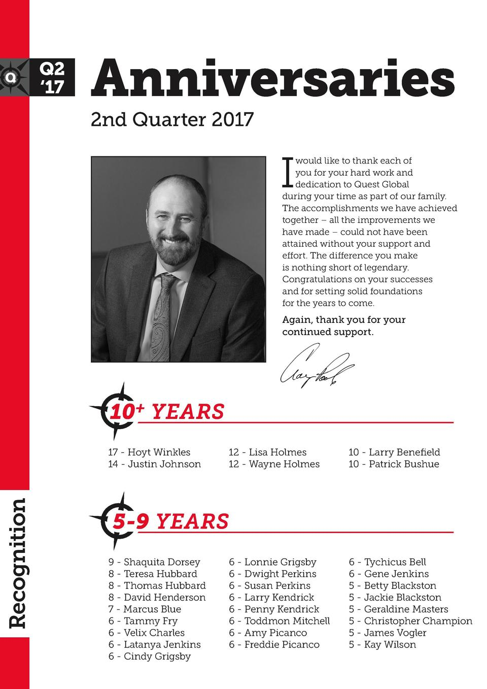 Anniversaries  2nd Quarter 2017  I  would like to thank each of you for your hard work and dedication to Quest Global duri...