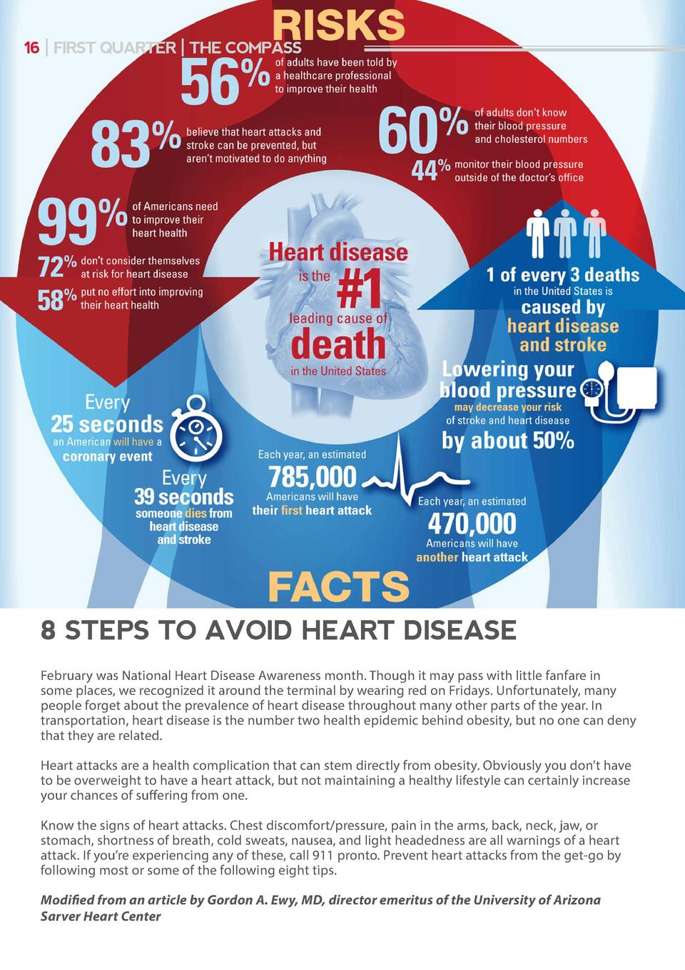 16   FIRST QUARTER   THE COMPASS  8 STEPS TO AVOID HEART DISEASE February was National Heart Disease Awareness month. Thou...