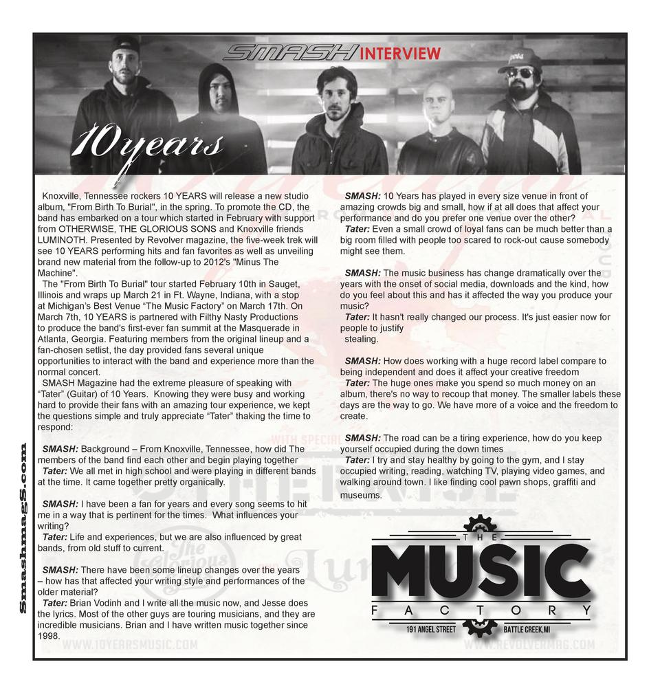 INTERVIEW  SmashmagS.com  Knoxville, Tennessee rockers 10 YEARS will release a new studio album,  From Birth To Burial , i...