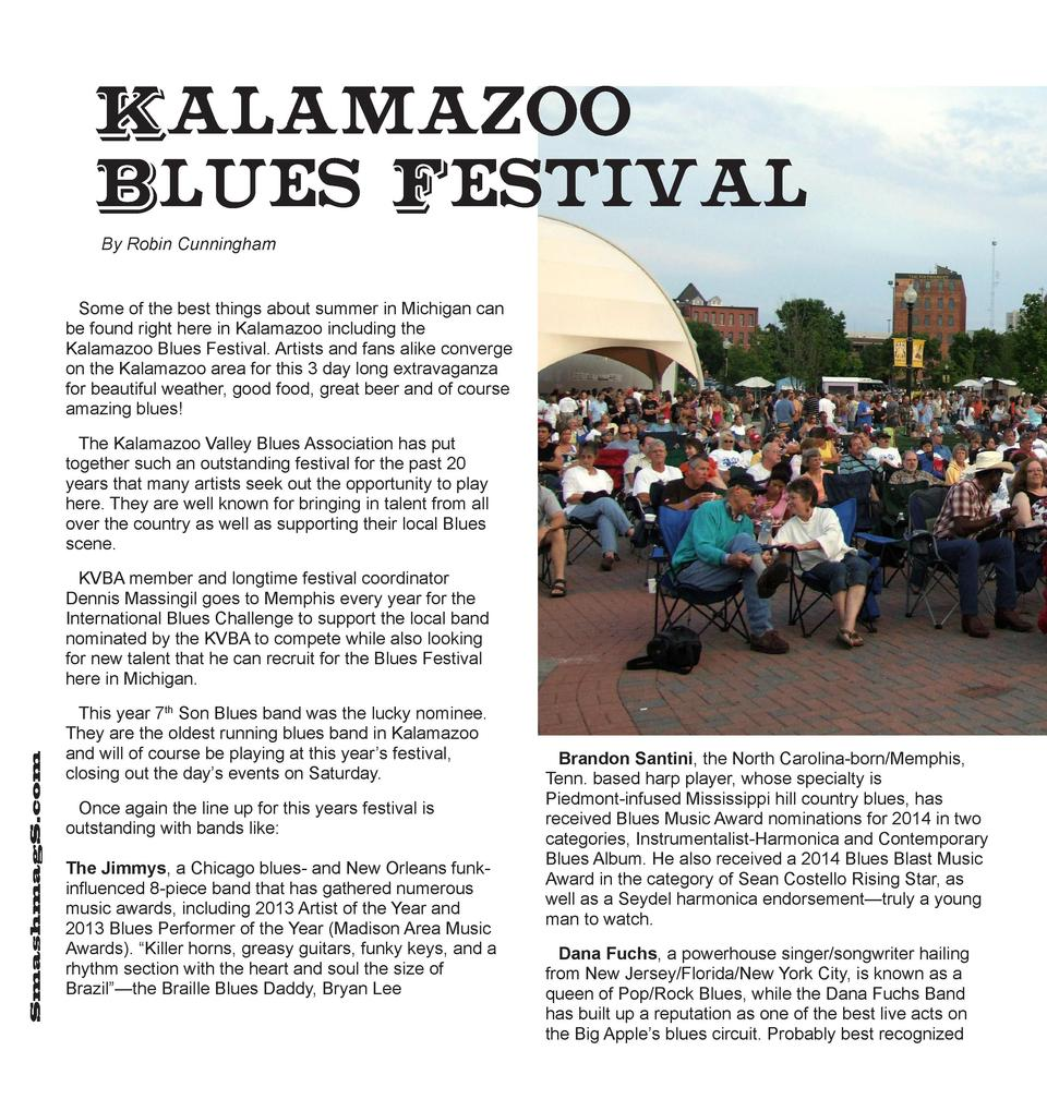 Kalamazoo Blues  Festival  By Robin Cunningham Some of the best things about summer in Michigan can be found right here in...