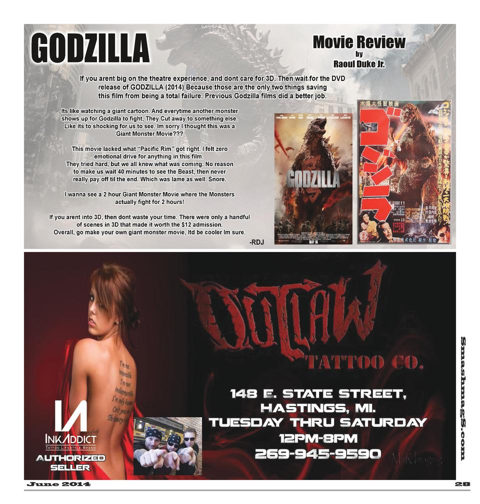 GODZILLA  Movie Review by  Raoul Duke Jr.  If you arent big on the theatre experience, and dont care for 3D. Then wait for...